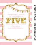 birthday card invitation is... | Shutterstock .eps vector #592146815