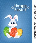 happy easter greeting card with ... | Shutterstock .eps vector #592150289