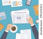 business news. businessman... | Shutterstock .eps vector #592152311
