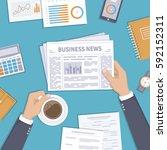 business news. businessman... | Shutterstock .eps vector #592152311