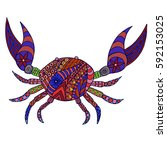 stylized colorful doodle crab.... | Shutterstock .eps vector #592153025
