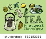 hand drawn tea time collection. ... | Shutterstock .eps vector #592153391