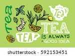 hand drawn tea time collection. ... | Shutterstock .eps vector #592153451