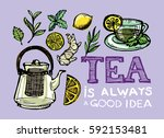 hand drawn tea time collection. ... | Shutterstock .eps vector #592153481