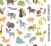 cute vector seamless pattern... | Shutterstock .eps vector #592154819