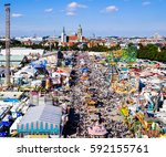 famous oktoberfest in munich  ... | Shutterstock . vector #592155761
