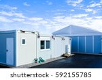 new gray mobile home container | Shutterstock . vector #592155785