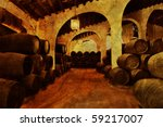 cellar with barrels of sherry... | Shutterstock . vector #59217007
