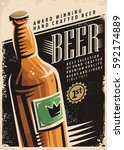 beer retro poster layout with... | Shutterstock .eps vector #592174889