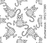 doodle pattern of funny cats... | Shutterstock .eps vector #592177385