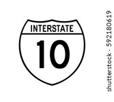 interstate highway 10 road sign.... | Shutterstock .eps vector #592180619
