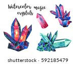 magic crystals set. watercolor... | Shutterstock . vector #592185479