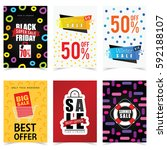 poster of sale in color set... | Shutterstock .eps vector #592188107