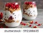 homemade yogurt parfait with... | Shutterstock . vector #592188635