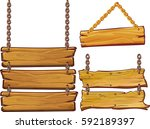 vector wooden signs isolated on ... | Shutterstock .eps vector #592189397