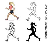 vector set of female character. ...   Shutterstock .eps vector #592192169
