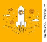 thin line flat design vector... | Shutterstock .eps vector #592193879