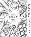 bakery background. linear... | Shutterstock .eps vector #592195874
