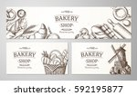 Bakery background. Linear graphic. Bread and pastry collection. Bread house. Vector illustration.