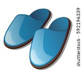 blue slippers isolated on a... | Shutterstock .eps vector #592196339