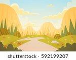 mountain range spring landscape ... | Shutterstock .eps vector #592199207