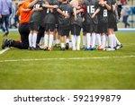 children soccer team. kids... | Shutterstock . vector #592199879