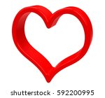 red heart isolated on white... | Shutterstock . vector #592200995