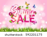 spring sale shopping special... | Shutterstock .eps vector #592201175