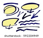 set of hand drawn grunge design ... | Shutterstock .eps vector #592204949