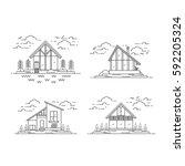 vector line modern house... | Shutterstock .eps vector #592205324