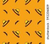 sombrero with mustache seamless ... | Shutterstock .eps vector #592206809