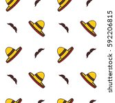 sombrero with mustache seamless ... | Shutterstock .eps vector #592206815