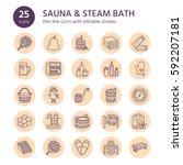 Sauna  Steam Bath Line Icons....