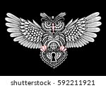 steampunk owl with spread wings ... | Shutterstock .eps vector #592211921