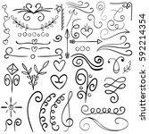calligraphic illustration set... | Shutterstock .eps vector #592214354