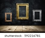 antique picture frame copper ... | Shutterstock . vector #592216781