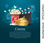 cyan cinema movie design poster ... | Shutterstock .eps vector #592216961