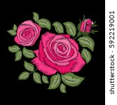 red rose embroidery on black... | Shutterstock .eps vector #592219001