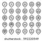 map pins locations set icons... | Shutterstock .eps vector #592220549