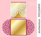 laser cut wedding invitation...   Shutterstock .eps vector #592226945
