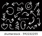set of hand drawn white chalk... | Shutterstock .eps vector #592232255