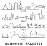 outline skyline with city... | Shutterstock .eps vector #592239611