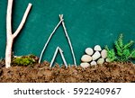 camp site made from natural... | Shutterstock . vector #592240967