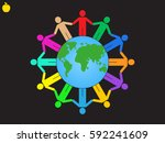 Globe  People  Icon Vector...