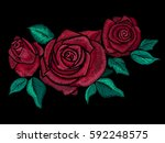 Stock vector embroidery colorful floral pattern with simplified roses and leaves vector traditional folk 592248575