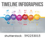 timeline infographics with 5... | Shutterstock .eps vector #592253015