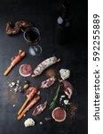 salami  prosciutto  cheese ... | Shutterstock . vector #592255889