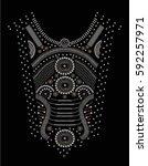 neck embellishment with metal... | Shutterstock .eps vector #592257971