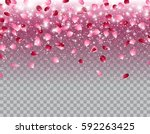 pink falling flowers petals... | Shutterstock .eps vector #592263425