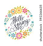 hello spring greeting card.... | Shutterstock .eps vector #592266635